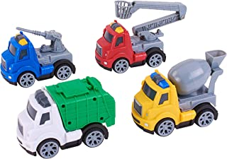 Kid Connection 4-Piece Friction Powered Utility Trucks Play Set, Garbage Truck, Cement Truck, Fire Truck, Utility Truck