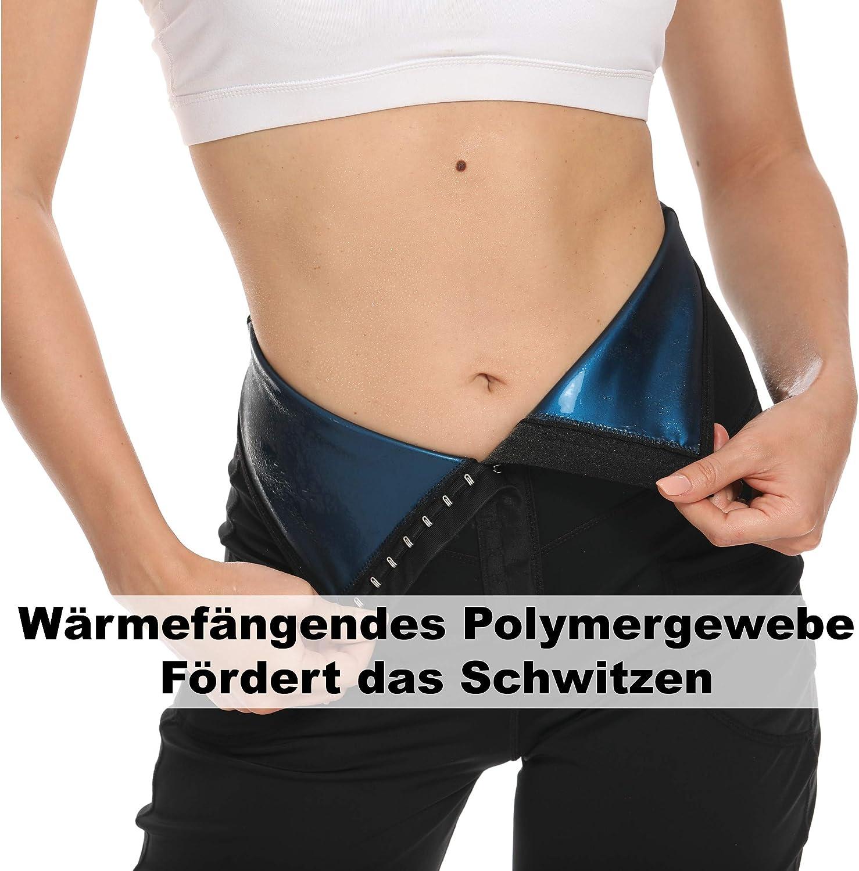 SFIGUR Damen Gym Kurz Sport Legging Sauna Effekt Yoga Shorts mit Eingrifftasche Bauchweg und Schwitzeffekt