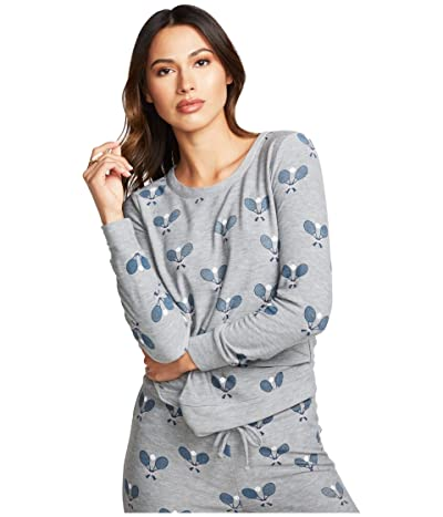 Chaser Tennis Toss Cozy Knit Long Sleeve Pullover (Heather Grey) Women