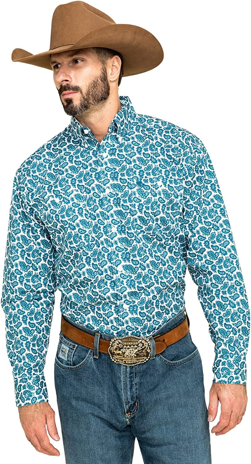 Wrangler Men's George Strait by Small Paisley Print Long Sleeve Western Shirt Teal Large Tall