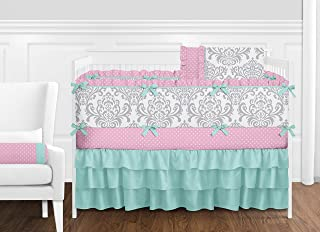 Sweet Jojo Designs 9-Piece Boutique Skylar Turquoise Blue Pink Polka Dot and Gray Damask Girls Baby Bedding Crib Set