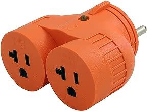 AC WORKS [ADVTT520] RV/Generator V-DUO Adapter TT-30P RV 30Amp Plug to (2) 15/20Amp Household Connectors