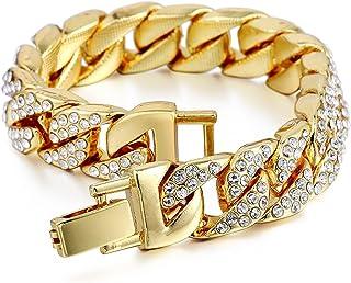 Mens Womens Cuban Link Bracelet Hip Hop Bracelet Stainless Steel Chain Bracelet Iced Out Curb Cuban 18k Gold Plated Bracel...