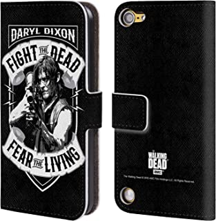 Official AMC The Walking Dead RPG Black White Daryl Dixon Biker Art Leather Book Wallet Case Cover Compatible for iPod Touch 5G 5th Gen