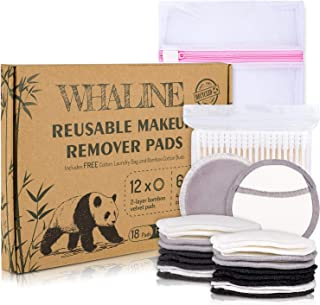 Whaline 18 Pcs Reusable Makeup Remover Pads, 2-Layer and 3-Layer Bamboo Cotton Velvet Facial Cleansing Pads with Laundry Bag and 200 Bamboo Cotton Buds, Washable Eco-friendly for All Skin Types