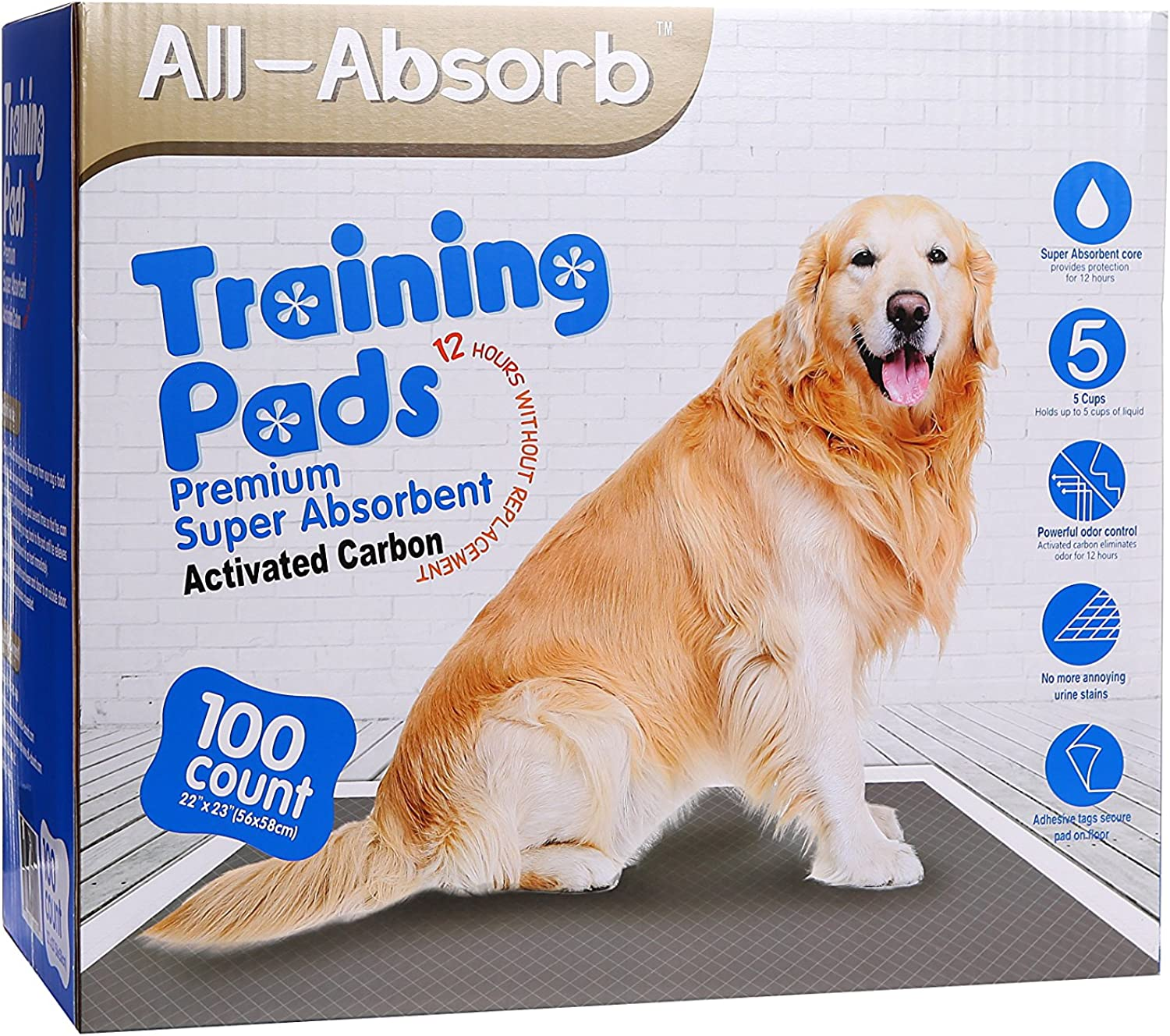 AllAbsorb Premium Training Pads, Activated Carbon, 22in by 23 , 100Count