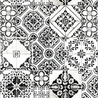 RoomMates Black Mediterranean Tile Peel and Stick Wallpaper