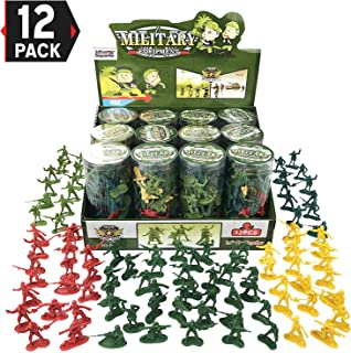 Liberty Imports Army Men Military Action Figures in 12 Mini Tubes Buckets - 600 Pieces Kids Toy Soldiers Combat Special Forces Party Favors Supplies