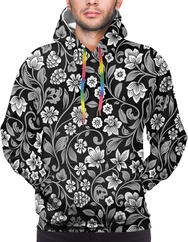 Men's Hoodies Sweatshirts,Continuous Exotic Leaves Jungle Foliage Watercolor Effect Botany Art