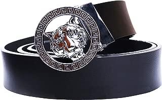 Men's Luxury Gold/Silver Tiger Buckle 35-mm Italian Leather Belt