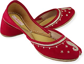 Fulkari Women's Soft Leather Bite and Pinch Free Velvet Embroidered Comfortable Casual Jutis Ethnic Flat Shoes