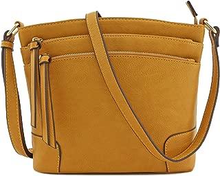 Triple Zipper Pocket Medium Crossbody Bag