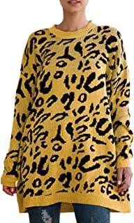 FAFOFA Women's Oversized Leopard Printed Round Neck Pullover Sweater Loose Fit Knit Jumper