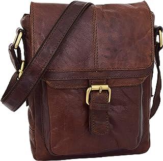 Mens Classic Leather Cross Body Organiser Bag Flight Pouch Oldenburg Brown