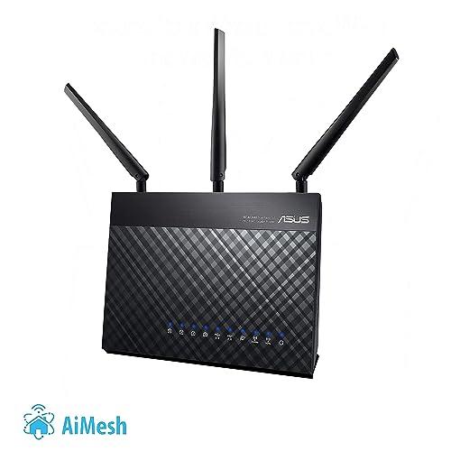 Asus RT-AC68U Routeur Wi-Fi Aimesh / AC 1900 Mbps Double Bande avec beamforming AiRadar, sécurité AiProtection à vie par TrendMicro, garantie 3 ans