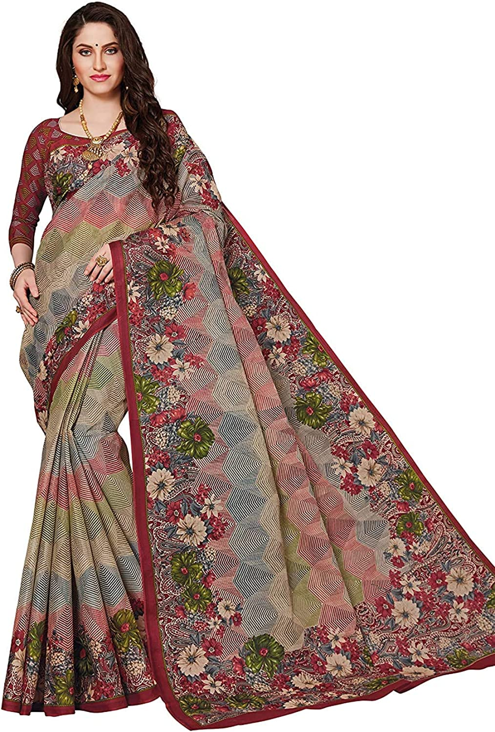 Women's Pure Cotton Printed Saree with I Piece Blouse Unstitched Superior free