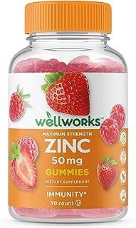 WellWorks Zinc 50mg Gummies - Great Tasting Natural Flavor Gummy Supplement - Gluten Free Vegetarian GMO-Free Chewable Vit...
