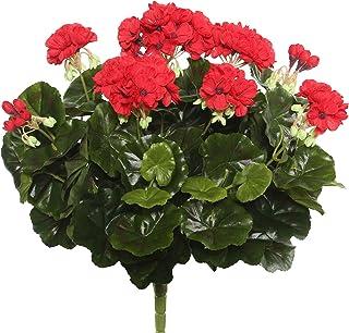 "Vickerman Everyday Artificial Red Geranium Bush 17.5"" Long - Premium Faux Floral Decor for Wedding or Everyday Arrangement..."