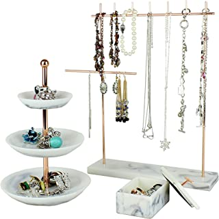 """Rose Gold Jewelry Organizer Set 3 - Easily Organize Necklaces Earrings Rings Bracelets - Incl. 12.5"""" H Jewelry Rack, 3 Tier Ring Holder Dish, Jewellery Trinket Box for Women"""