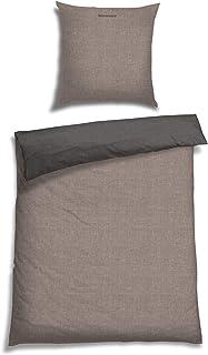 Schiesser Wendebettwäsche Doubleface Silber-Anthra 155x220cm, 100% Baumwolle