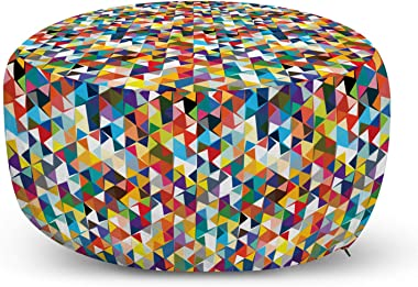 Ambesonne Art Ottoman Pouf, Continuous Abstract Triangles Along Awakening Tones Colorful Cheery Illustration Print, Decorativ