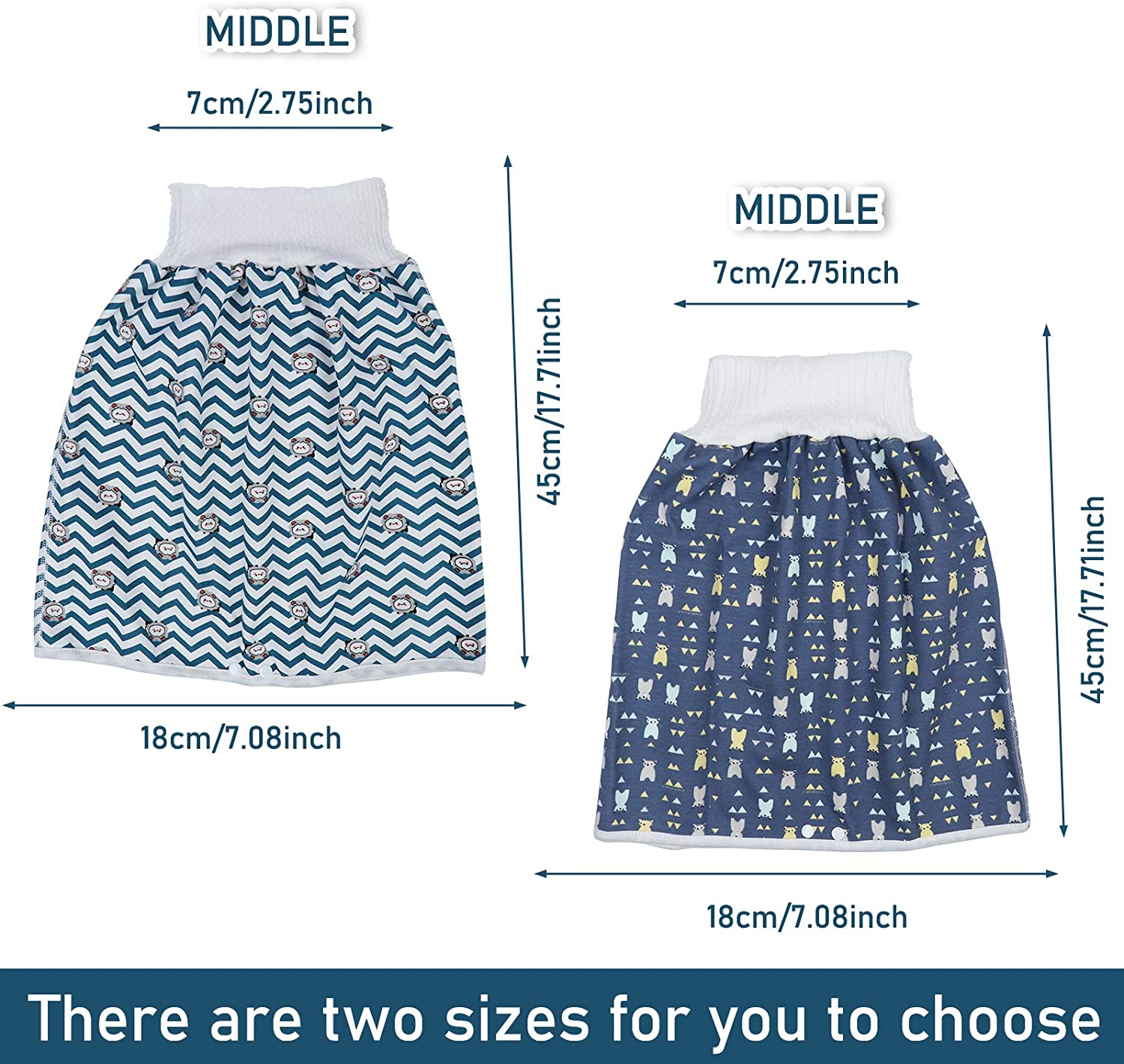 2 Packs Unisex Baby Waterproof Diaper Skirt for Potty Training Baby Reusable Sleeping Bed Clothes Diaper Skirt for Boys and Girls Toddler Night Time Potty Training
