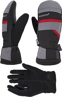 ANDORRA Mens Ski Mittens with Pockets Optional Light Inner Touchscreen Gloves, Lens-Wiper Thumbs