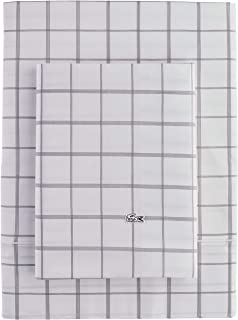 Lacoste Match Point Collection 4-Piece Sheet Set, Full, Window Pane Grey