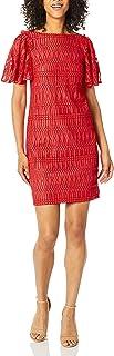 فستان حريمي برقبة مستديرة مزين بثنيات على شكل قارب من ترينا ترك