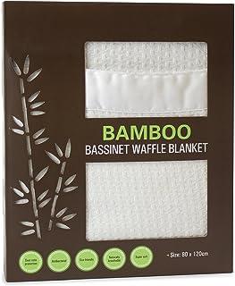 Bubba Blue Soft Bamboo Viscose Organic Baby Bassinet Waffle Blanket Thermoregulating White Unisex