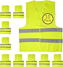 Yellow Safety Reflector Vests bulk, Pack of 10 Bright Construction Vests with Visibility Strip, Perfect for Warehouses, Traffic and Parking Patrol by Upper Midland Products