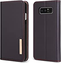Case Compatible with Samsung Galaxy Note 8, BENTOBEN Genuine Leather Wallet Slim Flip Cover with Kickstand 3 Credit Card Holder Cash Slots Protective Phone Cases for Samsung Galaxy Note 8, Brown