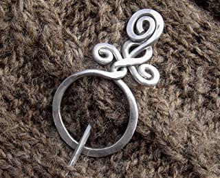 Circle With A Twist Shawl Pin, Aluminum Sweater Brooch, Scarf Pin Handmade in Oregon Knitters Gift