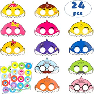 24Pcs Little Shark Masks Birthday Party Supplies Cartoon Sharks Theme Party Favor Mask with 24 Pack Cute Shark Stickers Doo Doo Shark Family Inspired Sea Themed Costumes for Kids Preschool