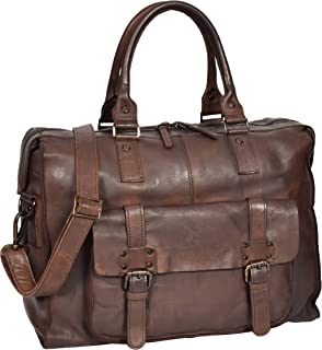 Holdall Travel Duffle Real Leather Cabin Size Bag Lightweight HOL7799 Brown
