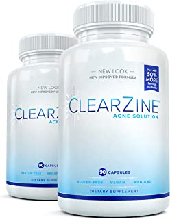ClearZine Acne Pills for Teens & Adults (2 Bottles) | Clear Skin Supplement, Vitamins for Hormonal & Cystic Acne | Stop Breakouts, Oily Skin with Milk Thistle, Pantothenic Acid & Zinc, 90 Caps Each
