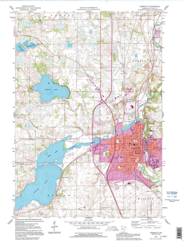 YellowMaps Faribault MN topo Colorado shipfree Springs Mall map 1:24000 Scale X Minut 7.5