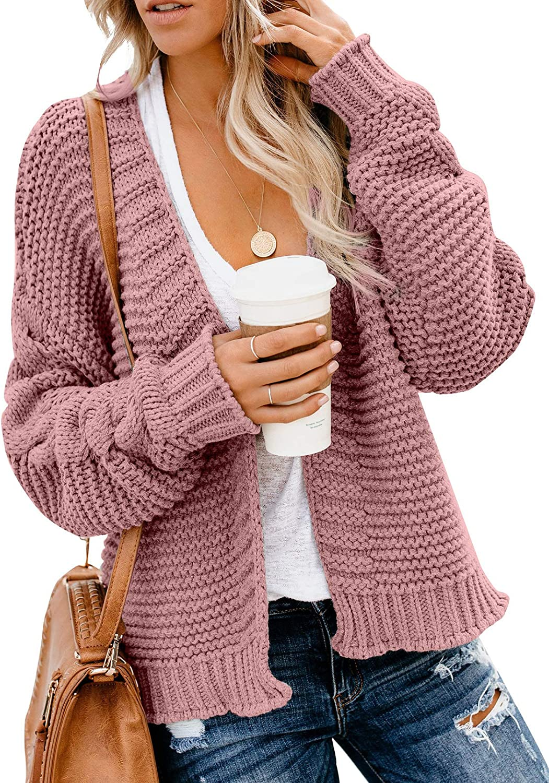 Dearlovers Womens Open Front Long Sleeve Chunky Knit Cardigan Sweater Casual Loose Outwear