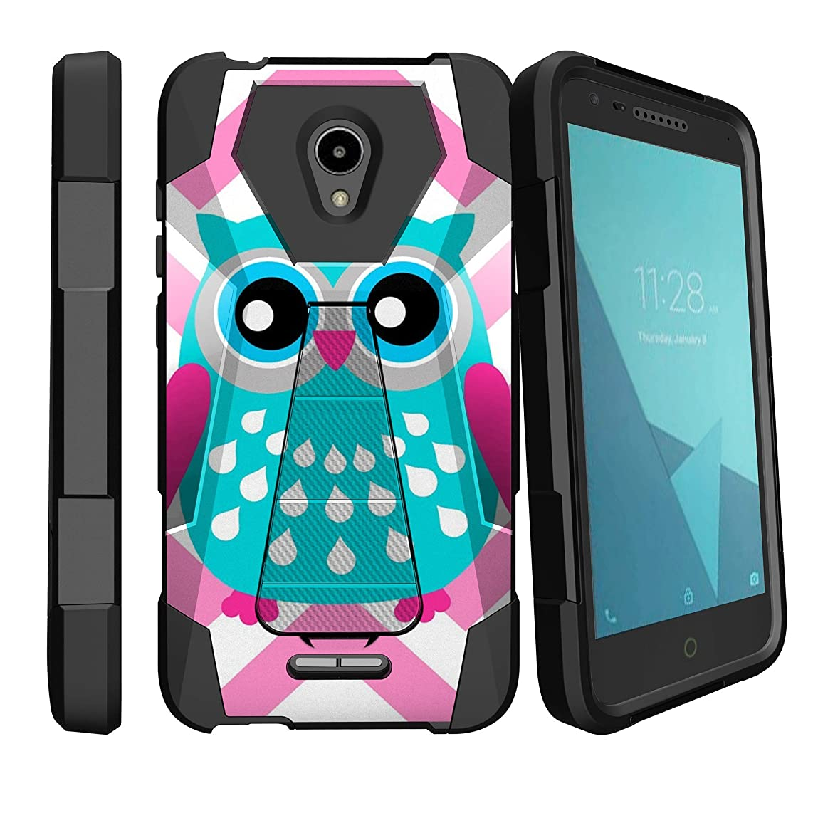 MINITURTLE Compatible with Alcatel Verso, Ideal Xcite, Raven A574BL, Fiji Kickstand Dual Layer Hybrid Drop Protection Shock Absorbing Rugged - Blue Pink Owl