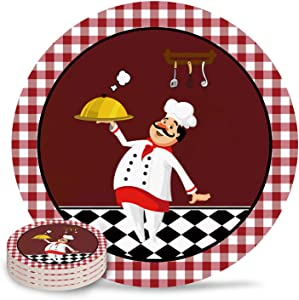 Kitchen Cartoon Chef with Delicious Food Coasters for Drink, Absorbent Ceramic Stone Coaster Set with Cork Base for Kitchen Table Cups and Mugs, Set of 4, Red Lattice Frame