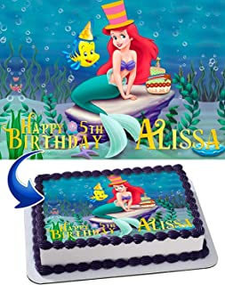 The Little Mermaid Edible Image Cake Topper Party Personalized 1/4 Sheet