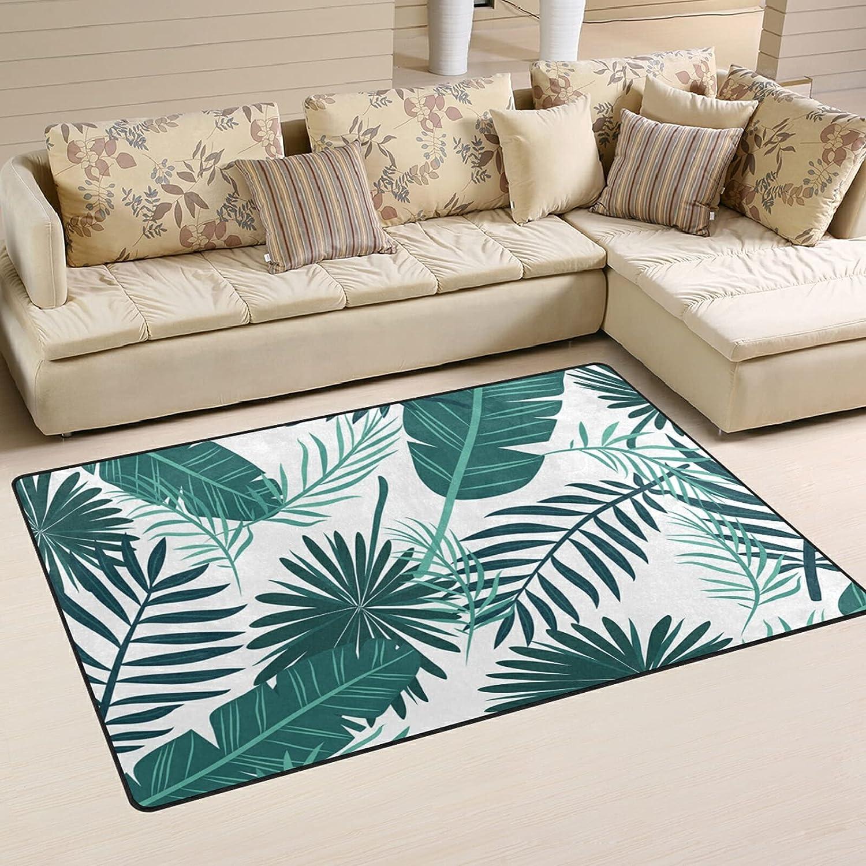 Tropical Palm Boston Mall Leaves Large Soft Fees free Area Rug Ma Playmat Rugs Nursery