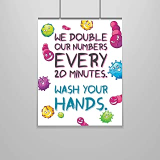 Zap Education Germs Poster – 8 x 10 – Wash Your Hands – Funny Art – Bathroom Decor – Funny Wall Print – Bathroom Wall Art – Hygiene Poster – Health Class