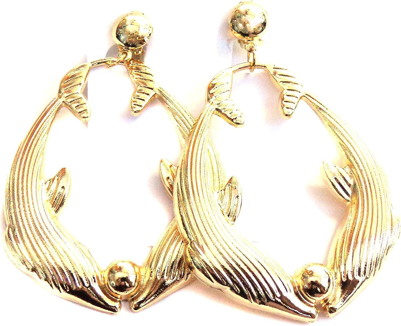 Clip-on Earrings Dolphin Kissing Hoop Earrings Old School Non Pierced Earrings 2.5 inch Large