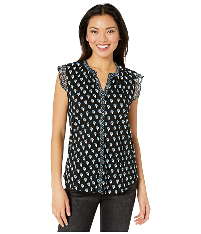 Lucky Brand  Sleeveless Button-Up Woodblock Printed Top (Black Multi) Womens Clothing