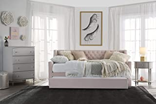 Little Seeds Ambrosia Diamond Tufted Upholstered Design Daybed And Trundle  Set, Twin Size   Pink