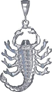 Sterling Silver Scorpion Charm Pendant Necklace Diamond Cut Finish with Chain