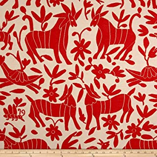 ARTISTRY Fiesta Otomi Jacquard Red Fabric by The Yard