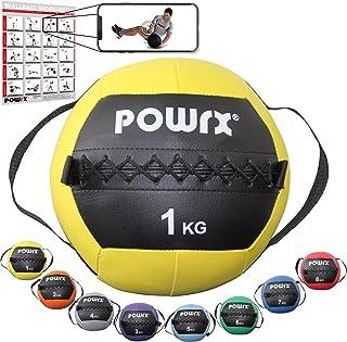 POWRX Wall Ball con Asas Laterales 1-8 kg - Ideal para Ejercicios de »Functional Fitness«, fortalecimiento y tonificación Muscular - Agarre Antideslizante + PDF Workout