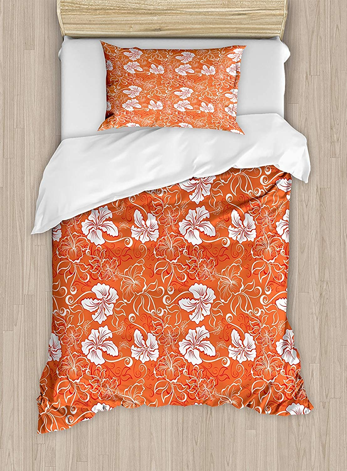 VpinkLVHOME orange Duvet Cover Set Twin Size Hawaiian Pattern with Tropical Climate Hibiscus Flowers Abstract Summer Flourish,Kids Bedding  Double Brushed Microfiber,orange White